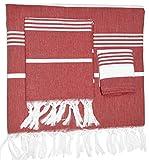 3 Pieces Turkish Pestemal ( Aka Peshtemal ) Set ( Bath Towel, Face Towel and ...
